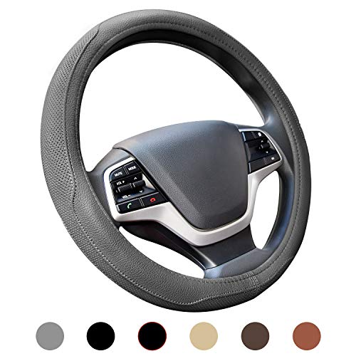 Ylife Microfiber Leather Car Steering Wheel Cover, Universal 15 inch Breathable Anti Slip Auto Steering Wheel Covers, Grey (Steering Wheel Cover Gray)