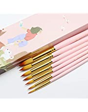 ADAXI Watercolor Brushes, 7 pcs Round Tip Nylon Hair Paint Brush Set, Highly Flexible n Absorbent Watercolor Paint Brushes for Acrylic, Oil, Gouache, Watercolor Paints