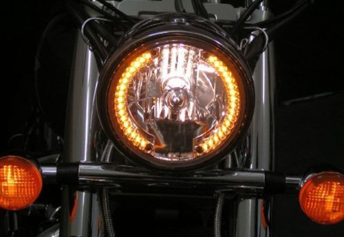 7   Motorcycle Amber 26 LED Halo Headlight Turn Signal with 35W HID 6000W for Harley Honda Suzuki Kawasaki Yamaha
