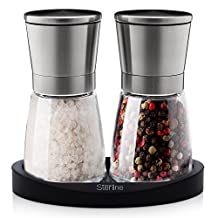 Sterline Premium Salt and Pepper Mill Manual Grinder Set with Adjustable Fine Precision Grinding, Stainless Steel