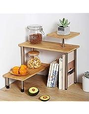 3 Tier Corner Shelf Bamboo & Metal Storage Spice Rack-Desk Bookshelf Display Shelves Space Saving Organizer,Freestanding Countertop Desk Bookshelf Display Shelves for Bedroom, Bathroom & Office