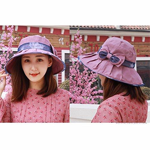 YXLMZ Señoras Mujeres Primavera Verano Sombreros Sombreros W hilo exterior  Playa Cap Visera plegable Rosa Sombreros c6278756cef