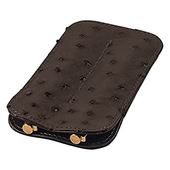Leather Double Pen Sleeve, Ostrich Leather, Brown, Fits 2 Pens