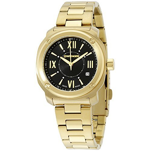 Wenger Black Dial Gold Tone Stainless Steel Ladies Watch 011121114