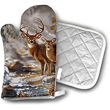 Ubnz17X Real Tree Camouflage Deer Oven Mitts and Pot Holders for Kitchen Set with Cotton Non-Slip Grip,Heat Resistant