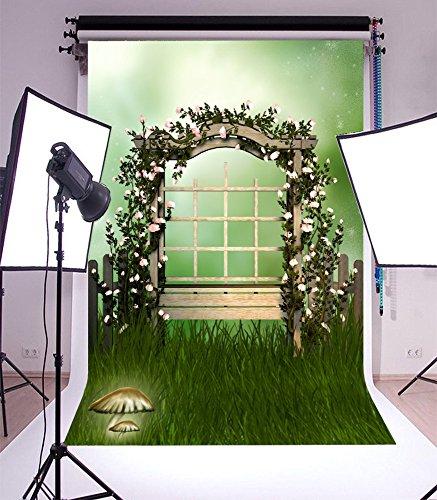 7' Vinyl Doll (Laeacco 5x7ft Vinyl Photography Backdrop Fantasy Fairy Tale Theme Garden Arch Flowers Green Grass Scene Photo Background Retro Wood Bench Mushroom Birthday Party Children Adult Photo Portraits)