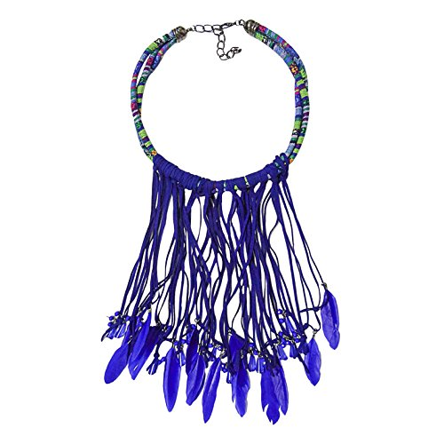 Tribal Design Pendant - L'VOW Vintage Feather Pendant Multi Layers Tribal Bib Necklace Statement Earring Jewelry Set (Design A - Blue)