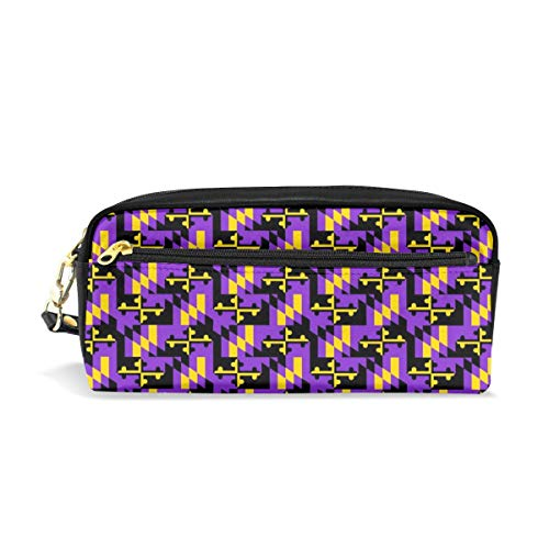Marland Flag Baltimore Ravens Colors Canvas Cosmetic Pen Pencil Stationery Pouch Bag Case ()