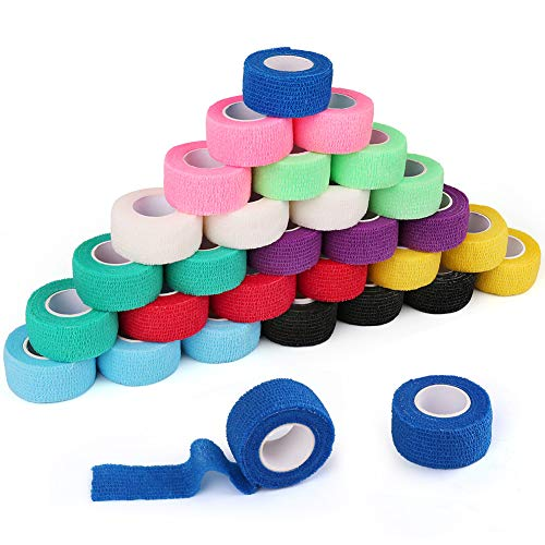 30 Pack Cohesive Bandage, 1 Inch x 5 Yards, 30 Rolls, Self Adherent Wrap, First Aid Tape, Elastic Wrap, Sports Tape, Medical Supplies, Assorted Colors