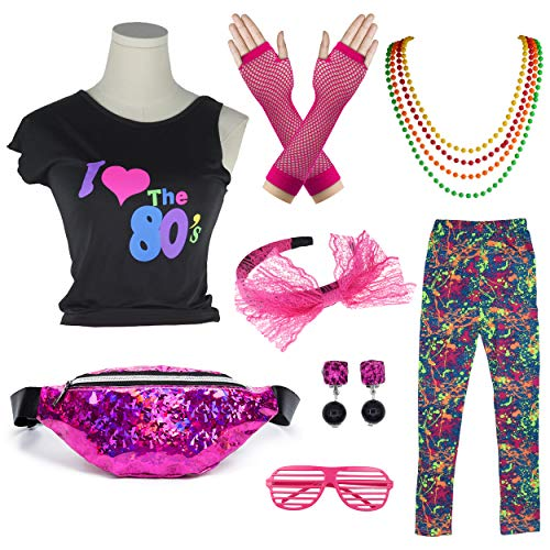 Kids 1980s Accessories I Love The 80's T-Shirt Outfit with Fanny Pack (8-10, ()