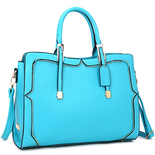 Top Handle Handbag Zip Purse Fashion Shoulder Bag Structured Crossbody Satchel Vegan Leather (8172-blue new) ()