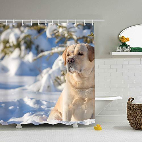 Mweet Large Labrador Retriever Dogs Winter Snow Fabric Shower Curtain Bathroom - 65 × 71 inch