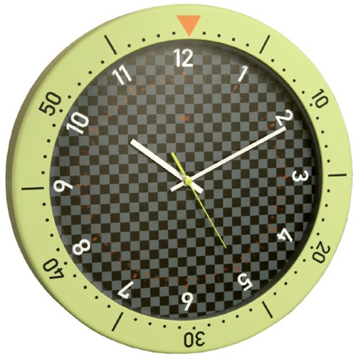 Bai Speedmaster Wall Clock, Chartreuse and (Dial Flag Bezel)