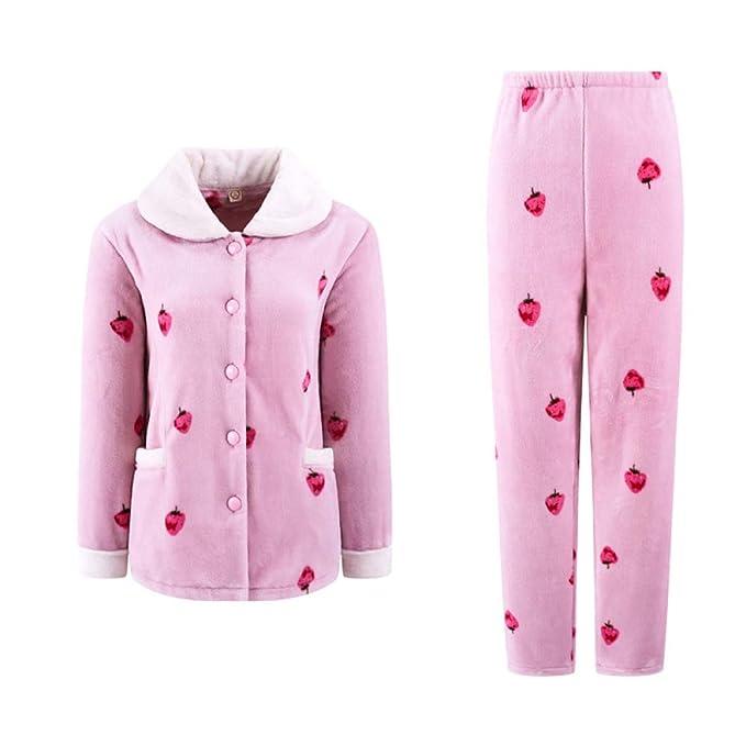 Pijama De Lana Polar De Invierno Cálido para Mujer PJS Franela De Invierno Estampado De Ropa