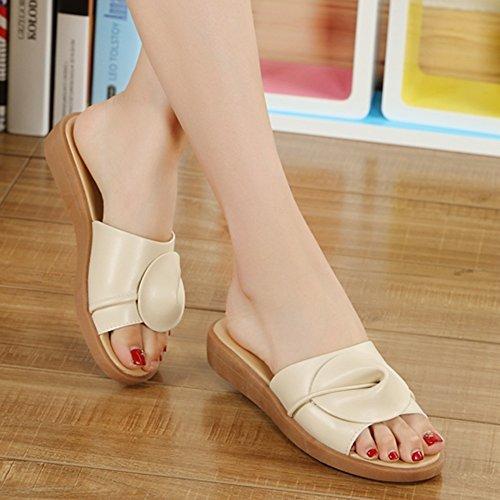 Fondo CN35 5 colori 5 Scarpe Moda di Beige alta qualità UK3 Materiale piatto Pantofole FEIFEI dimensioni da Colore Opzionale donna estiva Beige Fiori EU36 z1xwqnB6