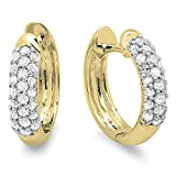 0.30 Carat (ctw) 14K Yellow Gold Round White Diamond Ladies Pave Set Huggies Hoop Earrings 1/3 CT