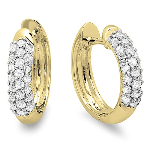 Classic Diamond Huggie Earrings - Dazzlingrock Collection 0.30 Carat (ctw) 14K Round White Diamond Ladies Pave Set Huggies Hoop Earrings 1/3 CT, Yellow Gold