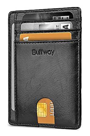 Buffway Slim Minimalist Front Pocket RFID Blocking Leather Wallets for Men Women - Black - One Size