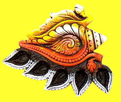 Craft Art India Handmade Earthen Clay / Terracotta Decorative Dipawali / Diwali Diya / Tealight / Oil Lamps for Pooja / Puja , Size (CM) :2 x 20 x 17.5