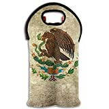 Mexican Flag Tote Bag Traveling Wine/Water Bottle Handbag With Carry Handle Two Bottle Drinks Beer Holder