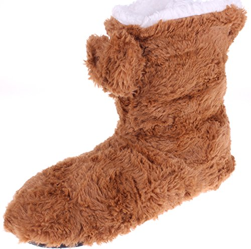 Cozy Plush Women's Brown Casual No Slip Enimay Indoor Winter Slippers Fuzzy House 7HaYxIIwgq