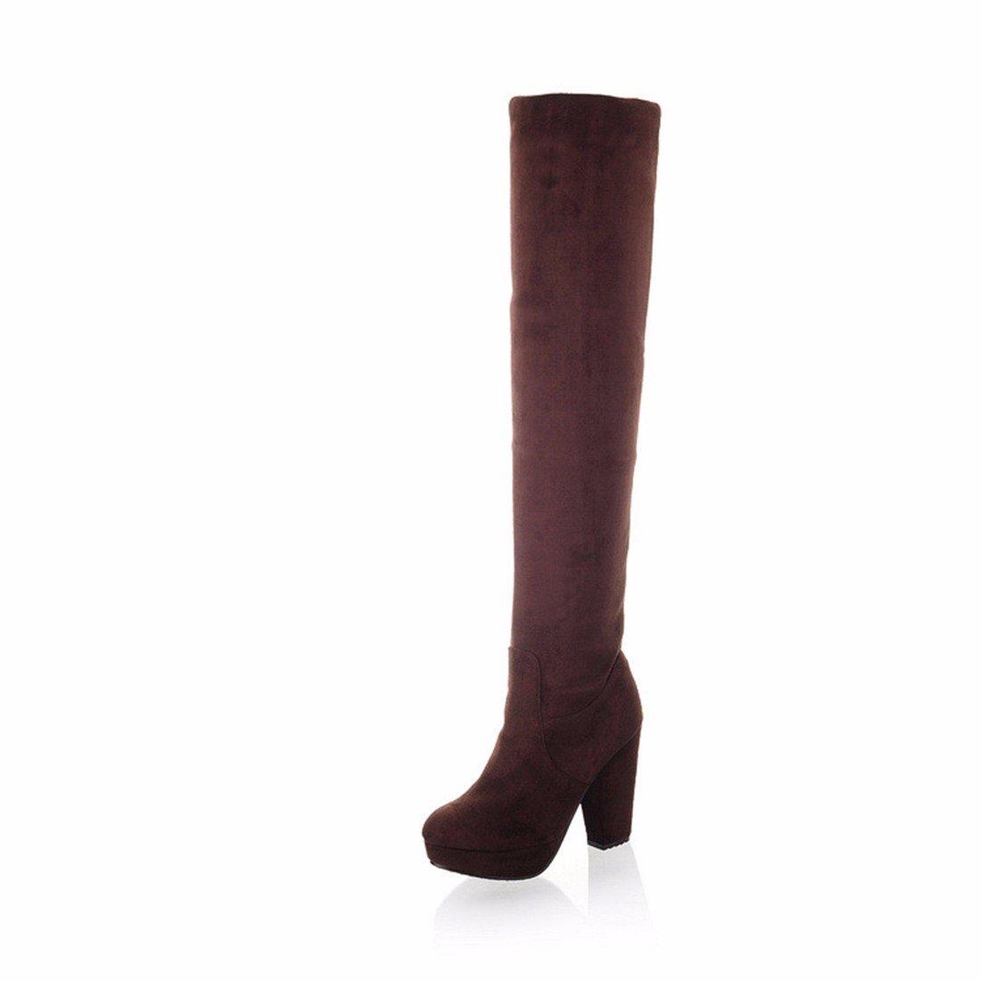 AIKAKA Frauen Herbst und Winter Europa und Amerika Amerika Amerika Sexy warme Overknee Stiefel High Heel Schuhe Ritter Stiefel 7780b7