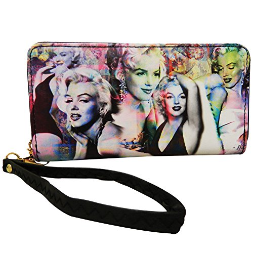 Marilyn Monroe Colorful Collage Wallet With Around Zip Closure  Colorful