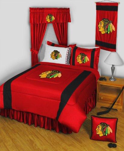 Chicago Blackhawks 8 Pc FULL Size Comforter Set and One Matching Window Valance/Drape Set [84 Inch Drapes] (Comforter, 1 Flat Sheet, 1 Fitted Sheet, 2 Pillow Cases, 2 Shams, 1 Bedskirt, 1 Matching Window Valance/Drape Set - 84'' Length Drapes) SAVE BIG ON