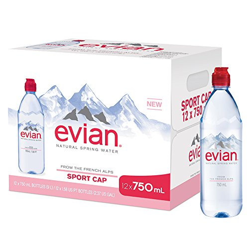 evian Natural Spring Water Individual 750 ml/25.4 oz. Bottle with Sport Cap (Pack of 12)  Naturally Filtered Spring Water, Bottled Naturally Filtered Spring Water in Individual-Sized Bottles ()