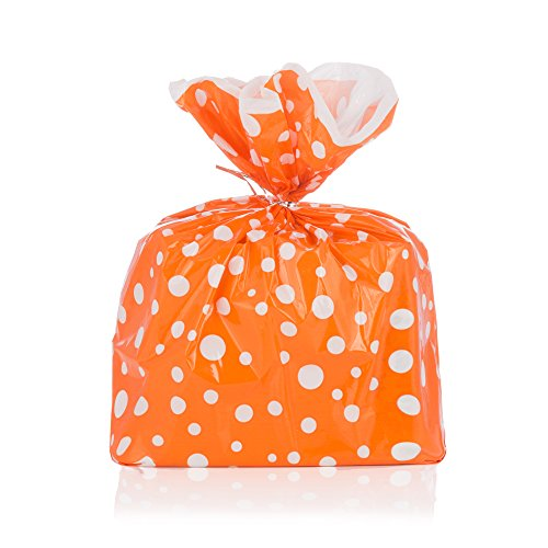 Orange Polka Dot Gift Wrap Bags with Silver Metallic Ties - Package of 8 - Epecially Good for Halloween Parties - Reusable Biodegradable Plastic - 17.75 By 19 -