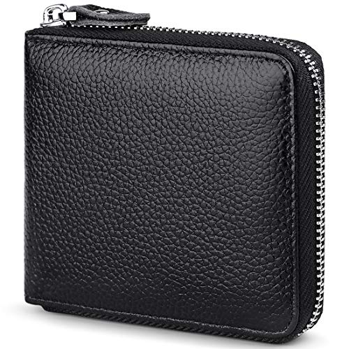 Huztencor Zipper Wallet Men Leather RFID Blocking Wallets for Men with ID Card Window Secure Zip Around Bifold Wallets Black(FBA) ()