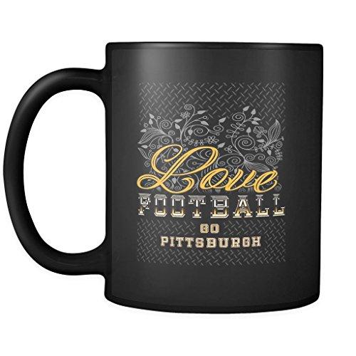 (Love Football Game Go Pittsburgh Fan Gift Diamond Plate Black 11oz Mug )