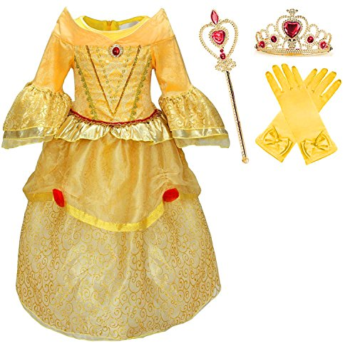 Romy's Collection Princess Belle Yellow Party Dress Costume, 6-7 (Cinderella Wedding Dress Costume)
