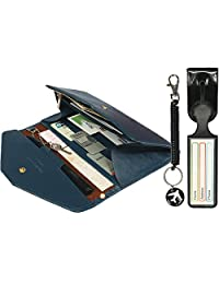 kilofly Multi Pocket Passport Wallet + Luggage Tag + Coil Keychain Travel Combo