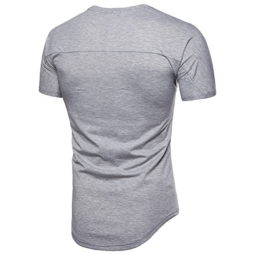 Couture Slim Gris shirt Simple Manche Causal T Pollover Top Amlaiworld Blouse Courte Fit Mode Hommes nwS6YxqI