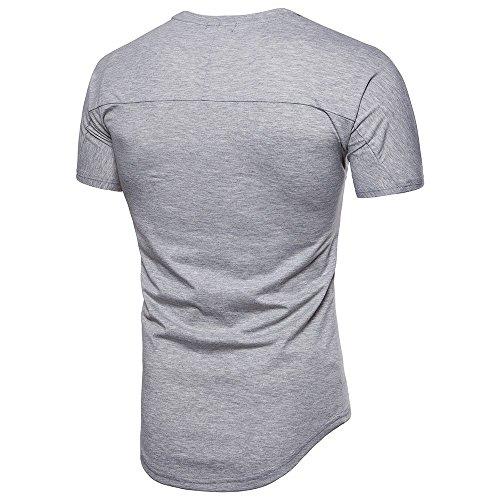 Causal Couture Mode Noir shirt Top Pollover T Amlaiworld Fit Simple Slim Hommes Manche Courte Blouse qwvZF