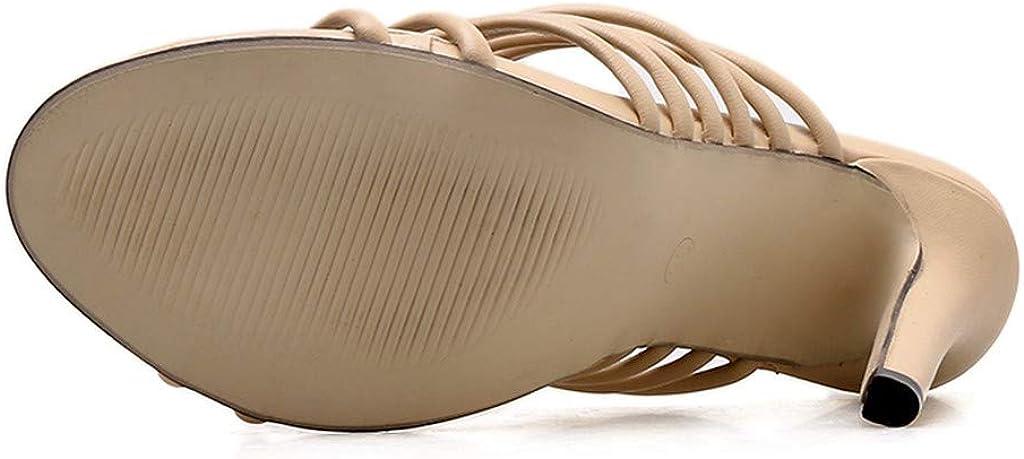 Sandalias de tacón Alto para Mujer,ZARLLE Las Mujeres sólidas se Deslizan en Las Sandalias Banda Estrecha Dedo del pie Puntiagudo súper Sexy Zapatos de tacón Alto: Amazon.es: Ropa y accesorios