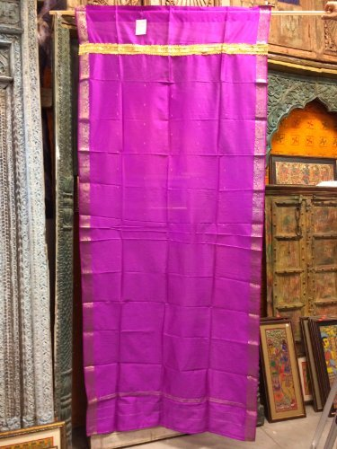 Sari Curtains Fuchsia Pink Brocade Silk Saree Drapes Window Panels
