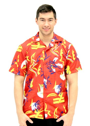 Scarface Tony Montana Hawaiian Adult Costume Button Up Shirt (Adult Large/X-Large) Red ()