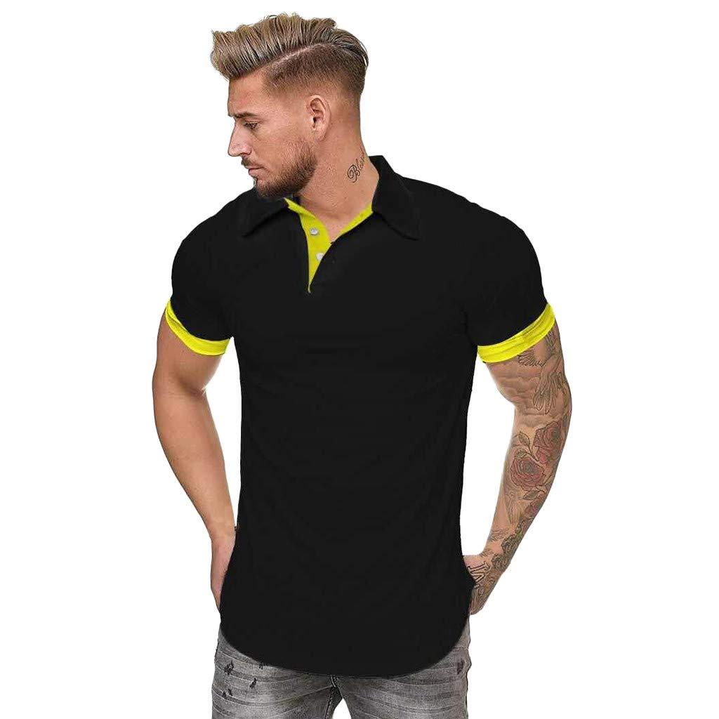 Men's Patchwork Shirt Double Color T-Shirts Top Blouses Men's Short Sleeve Slim Patchwork T Shirt (M, Yellow)