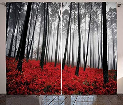 Mystic Forest Digital Photography Print Curtains Home Decorations for Bedroom Living Dining Room Kids Youth Room 2 Panels Set Art Prints Nature Window Treatment, 108 X 84 Inches, Red Black Gray