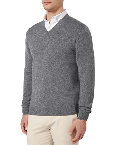 Bloomingdales Cashmere - Bloomingdale's Mens Pure Cashmere V-Neck Sweater Large L Heather Grey