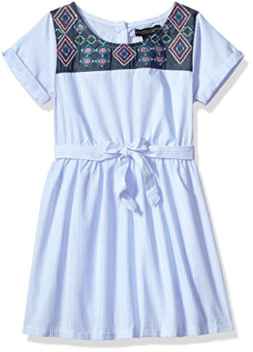 U.S. Polo Assn. Girls' Little Casual Dress, Embroidered Yoke Periwinkle, 6X