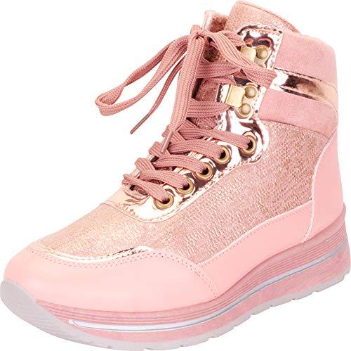 (Cambridge Select Women's High Top Lace-Up Chunky Platform Fashion Sneaker,10 B(M) US,Pink)