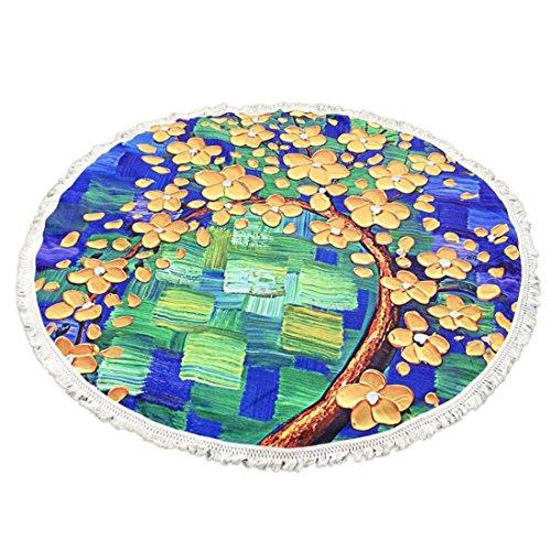 YJYDADA Round Tassel Hippie Tapestry Beach Picnic Throw Yoga Mat Towel Blanket (Yellow)