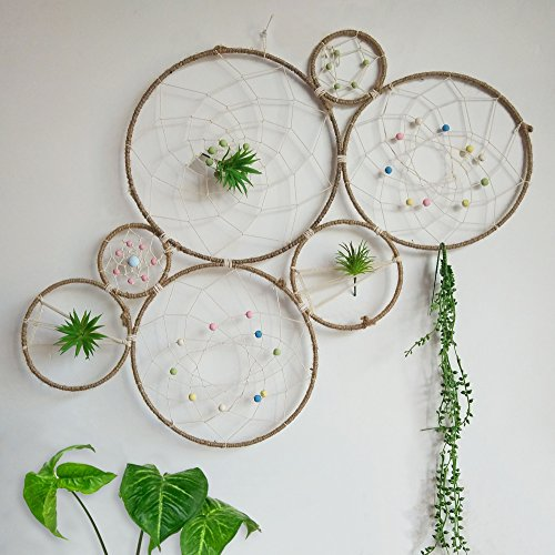 RISEON DIY Large Boho Tillandsia Dream Catcher Natural Air Plant Wall Hanger Holder Stand, Dreamcatcher Set-Wall Display Accent-Rustic Wedding Backdrop, with Faux Artificial Succulent Cactus Plants (Plant Wall Hanger)
