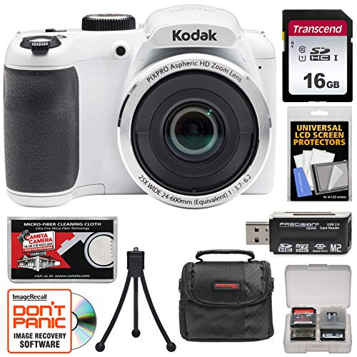 Kodak Digital Cameras Accessories - KODAK PIXPRO AZ252 Astro Zoom Digital Camera (White) with 16GB Card + Case + Tripod Kit