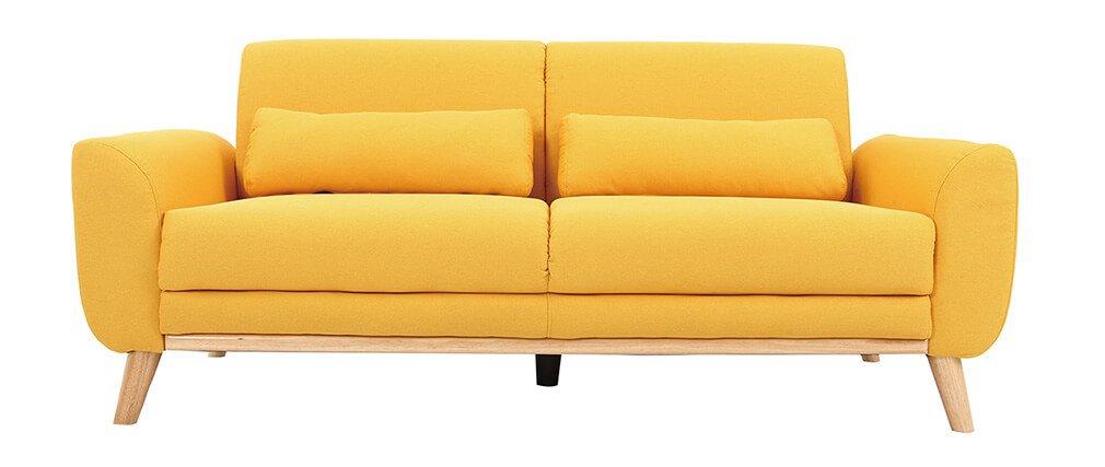 Miliboo - Sofá diseño 3 plazas tejido amarillo patas roble ...