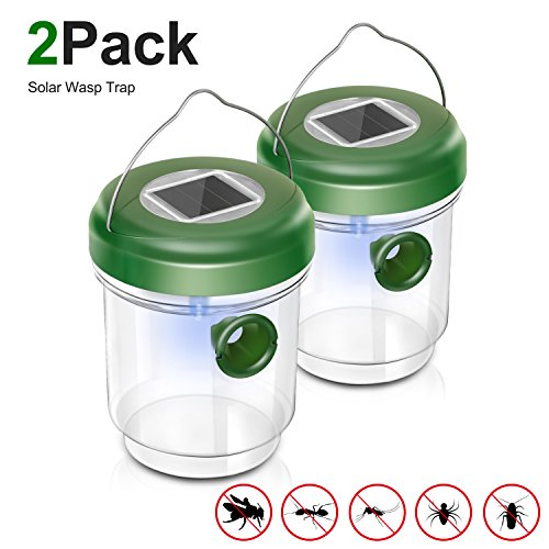 Adoric Life Wasp Trap Catcher, Perfect Outdoor Solar Powered Trap with Ultraviolet LED Light for Yellow Jackets, Bees, Wasps, Hornets, Bugs and More - 2 Pack (Home Catcher Wasp Made)