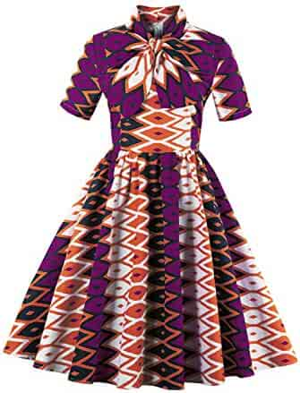 1002d007bbc Foshow Womens African Print Vintage Dress Plus Size Holiday Dashiki Midi  Dresses